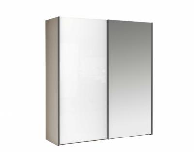 Armoire 2 portes coulissantes bois et miroir - 1