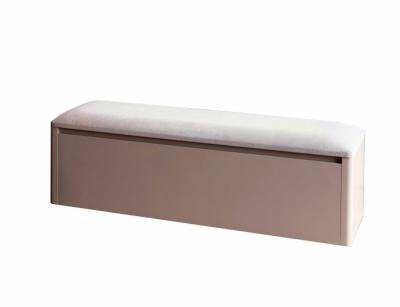 Banc de lit coffre avec dessus capitonné beige - 1