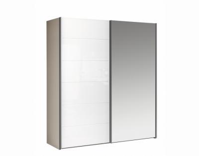 Armoire 2 portes coulissantes verre laqué et miroir - 1