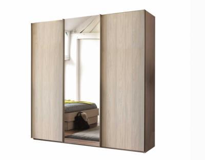 Armoire 3 portes coulissantes bois et miroir - 1