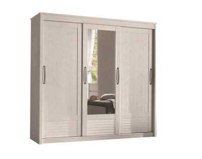 19H12 - Armoire 2 portes bois 1 porte miroir biseauté coulissantes - 1