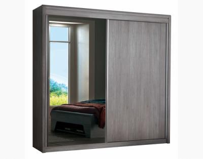 17H3 - Armoire portes coulissantes bois et miroir - 1