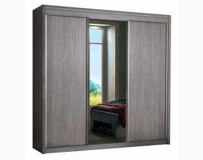 17H7 - Armoire 2 portes coulissantes bois, 1 miroir central - 1