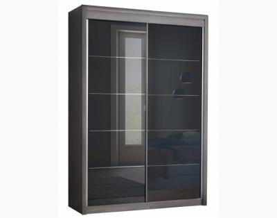 17H4 - Armoire portes coulissantes verre laqué rainuré chrome - 1
