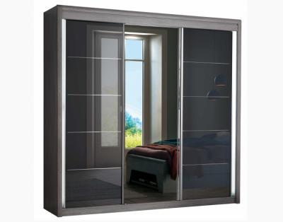 17H10 - Armoire portes coulissantes verre laqué rainuré chrome, miroir central - 1