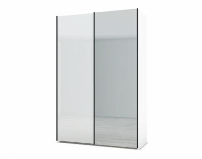 21H24 - Armoire portes coulissantes verre laqué et miroir - 1