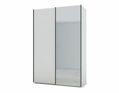 21H22 - Armoire portes coulissantes bois et miroir - 1