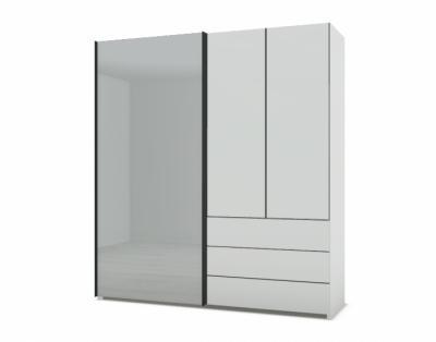21H29 - Armoire mixte portes bois et verre laqué  - 1