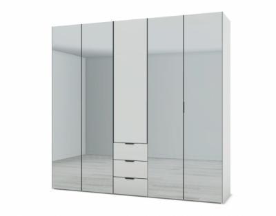21H13 - Armoire L250 portes battantes bois et miroir avec tiroirs - 1
