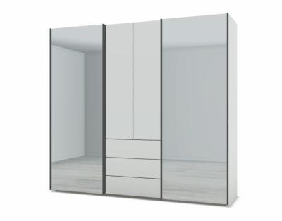 21H27 - Armoire mixte portes bois et miroir  - 1