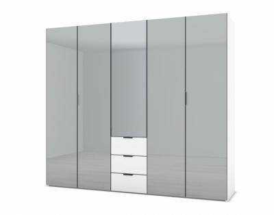21H15 - Armoire L250 portes battantes verre laqué et tiroirs - 1