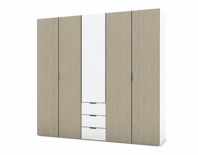 21H12 - Armoire L250 portes battantes bois avec tiroirs - 1