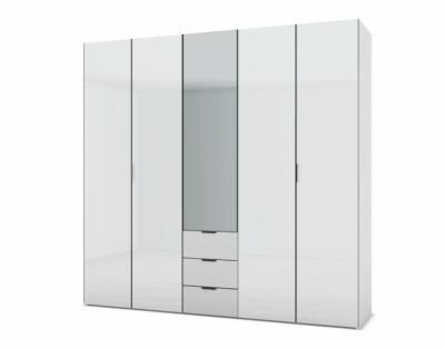 21H14 - Armoire L250 portes battantes verre laqué et tiroirs - 1