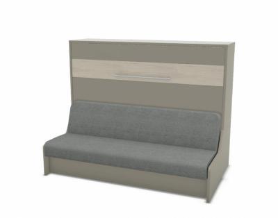 20M7 - Lit escamotable horizontal avec banquette / accoudoirs bois - 1