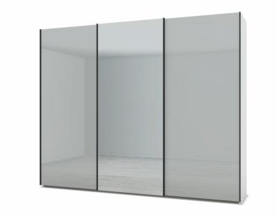 21H244 - Armoire portes coulissantes verre laqué, miroir central  - 1
