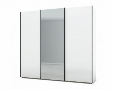 21H222 - Armoire portes coulissantes bois, miroir central - 1