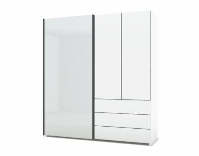 21H28 - Armoire mixte portes bois et verre laqué  - 1