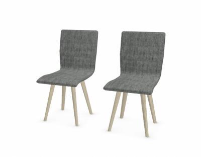 22M10 - Chaise BALI tissu gris (lot de 2) - 1