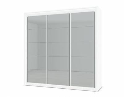 17H9 - Armoire 3 portes coulissantes verre laqué rainuré chrome - 1