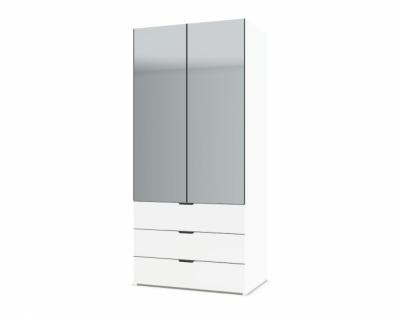 21H10 - Armoire portes battantes miroirs avec tiroirs - 1