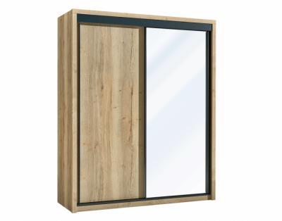 24B07 - Armoire 1 porte bois 1 porte miroir coulissantes - 1
