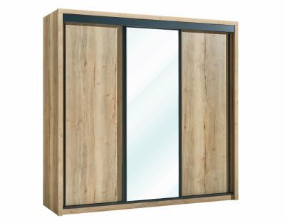 24B11 - Armoire 2 portes bois 1 porte miroir coulissantes - 1