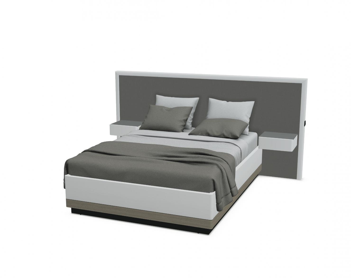 lit avec tete large bois chevets attenants et cadre sur socle