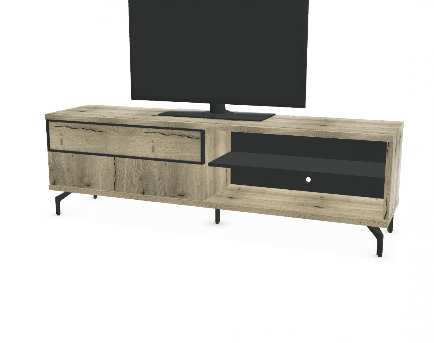 Meuble Tv Hifi Intégré meuble tv 1 porte coulissante + 2 niches façade bois