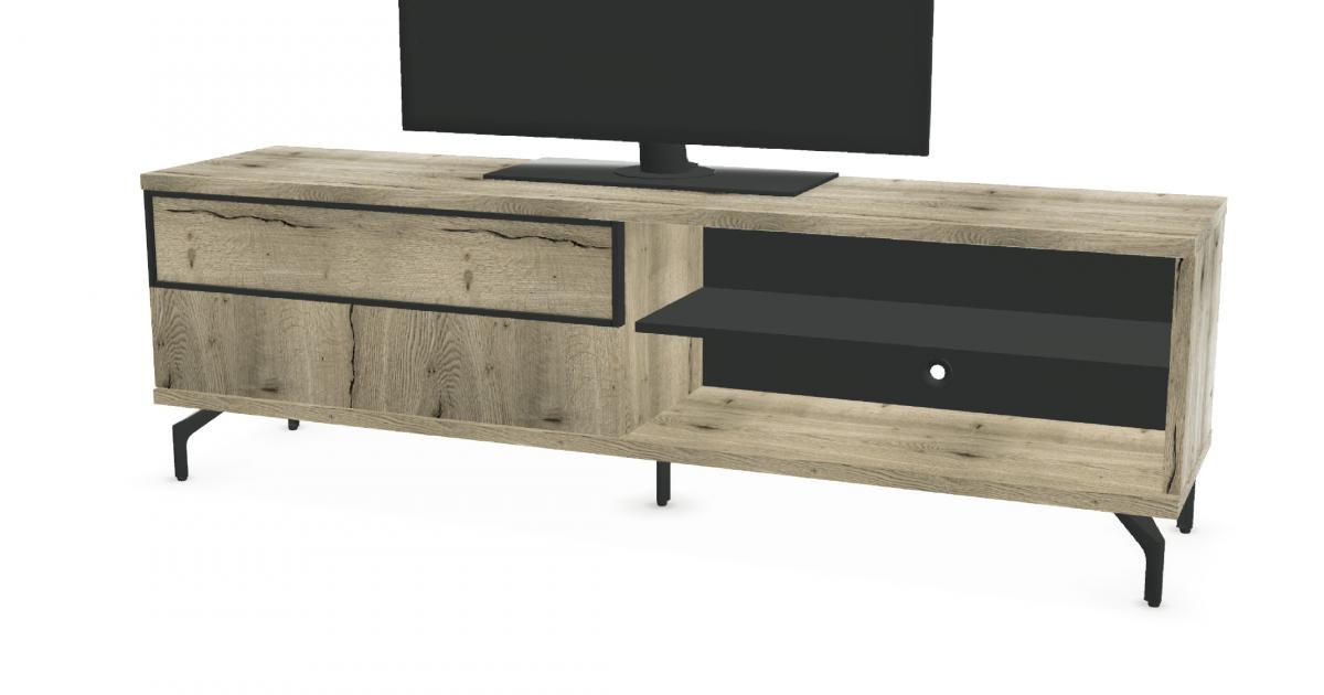 Meuble tv 1 porte coulissante 2 niches fa ade bois urban meubles c lio - Meuble tv porte coulissante ...